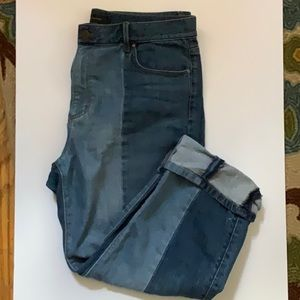 Ann Taylor Two tone straight crop jean size 8